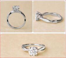 Engagement Rings in 14K White Gold 1.50Ct Round Cut Brilliant White Moissnaite