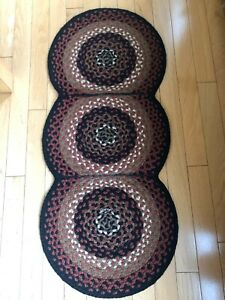 "Folk Art Braided Cotton Table Runner  Park Designs 15"" x 34"" Country"