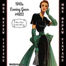 Vintage Sewing Pattern 1940s Cocktail or Evening Gown in Any Size - Plus #4922