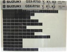 Suzuki GSXR750 GSX-R750 GSXR 2000 - 2002 Parts Catalog Microfiche s400