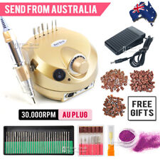 NEW 30000RPM Champagne Gold Electric Nail Drill Machine Set Sanding Bands & Bits