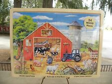 """Wooden Jigsaw Puzzle, """"Animals in the Barn"""" ages 3+, New"""