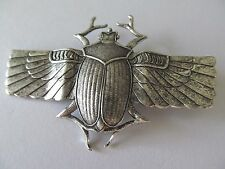 ART DECO EGYPTIAN LARGE ANTIQUE SILVER WINGED SCARAB BEETLE DESIGNED BROOCH PIN