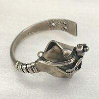 VINTAGE Cuff Bangle Celtic Brutalist Silver Tone Metal & Stone Steampunk