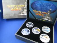 2007 $1 TUVALU SILVER PROOF COIN - FIGHTING SHIPS OF WW II - FIVE COIN SET