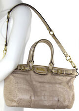 COACH 18602 Madison Sophia Taupe/Beige Croc Embossed Patent Leather Satchel Bag