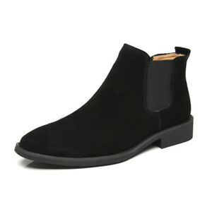 New Men Casual Fashion Chelsea Ankle Boots Faux Suede Pointed Toe High Top Shoes