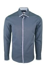 Dominic Stefano Double Collar Contrast Paisley Print Blue Smart Men's Shirt 376 L
