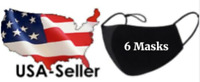6 Pack Cloth Face Mask Black Washable Reusable Cotton Three Layer Ships from USA