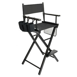 Tall Director's Chair (Black Canvas, Black Frame, Professional