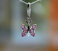 Sterling Silver 925 Pink CZ Set Butterfly Clip On Charm