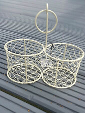 VINTAGE STYLE WIRE DOUBLE STORAGE TABLE BASKET BOTTLE HOLDER KITCHEN BATHROOM