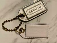 """2 COACH Hangtags 2.5"""" White Silver Leather Hangbags Lozenge Fobs Keychains"""
