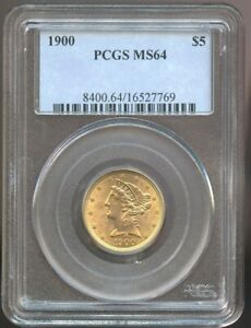 1900 $5 Gold Liberty MS 64 PCGS, Nice Color and Luster!