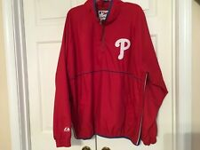 Size XL Men's Philadelphia Phillies Majestic Half Zip Red Long Sleeve Jacket
