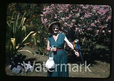 1957  kodachrome Photo slide  Colombia lady with macaw bird   CC11