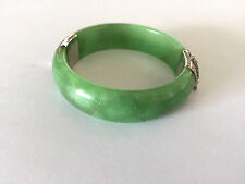 Vintage Green Jade Sterling CP 925  Ladies Bangle Bracelet 7'' Repaired