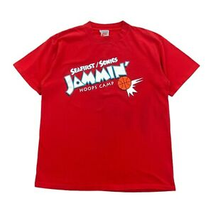 Vintage 90s Nike Seafirst/Sonics Jammin' Hoops Camp Red T Shirt Mens Size Large