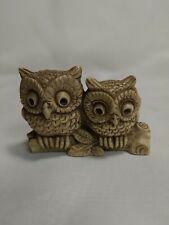 Vtg Wony Ltd Halt Owls On Branch Carved Resin