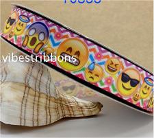 1 Yard (90cm) Emoji 22mm Ribbon Gift Decoration DIY Bow / Hair Clip