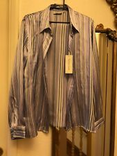 Victoria Layne blue white stripes silk blouse top shirt size 12
