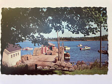 FRIENDSHIP MAINE Vintage Chrome Postcard Boats Lobster Pots 1977