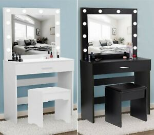 Dressing Table With Led Lighted Mirror,Drawer & Stool Bedroom Makeup Vanity Desk
