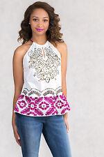BNWT $234 Italian Designer Chic Embroidery Cotton Top Size S 8 10 SISTE'S