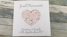 Beautiful PERSONALISED Handmade JUST MARRIED card With Sparkly Gems / Wedding