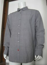 XXL Men Sons of Intrigue Long Sleeve Button Down Shirt Black White Plaid EUC