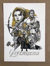 The Avengers Gold Variant Handbill by Tyler Stout - NT Mondo - Marvel - Rare