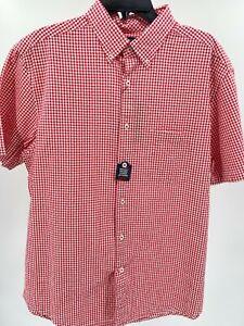 Men's Dress Shirt Size XL Cherry Red White Checks Untucked Top Roundtree & Yorke
