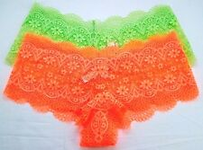 Victoria's Secret panties boyshort panty crochet lace sexy shortie neon lot 2 L