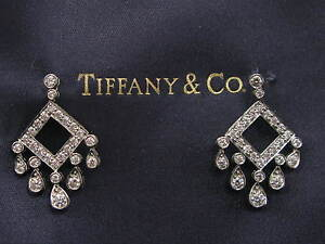 Tiffany & Co Platinum Legacy Open Square Diamond Drop Earrings 1.33CT