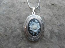 ROSE CAMEO LOCKET NECKLACE-WHITE / BLACK-.925 SILVER PLATED!!! QUALITY!!!!
