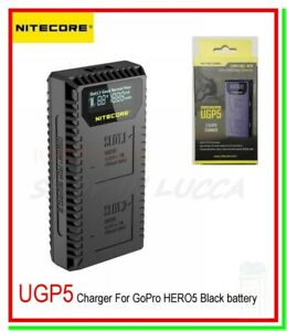 caricabatterie nitecore ugp5 pile al litio sport cam gopro hero 5 6 7 ahdbt 501