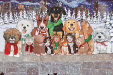 Dog with Cat Group Holidaytime in the City Christmas Cards Set of 10 cards & 10
