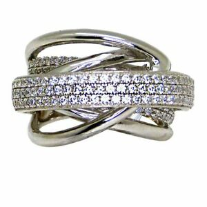 925 Sterling Silver Italian Pave Smooth Finish Crossover Ring Size 7.5