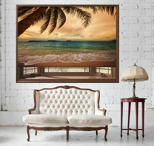 Tropical Beach Palm Tree at Dusk Photo Picture Roller Blind Blackout & Standard