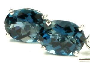 LONDON BLUE TOPAZ Sterling Silver Threader Earrings -Handmade • SE003
