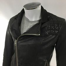 All saints mens small 38 black Conroy biker leather jacket £380