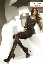 Levante Side Net Flower Pattern Tights M/L Nero/Argento