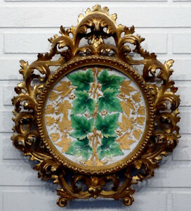 Antique 18th Century MEISSEN Porcelain Plate in Elaborate ROCOCO Wood Frame