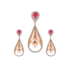 Pave 7.72 Cts Natural Diamonds Ruby Pearl Pendant Earrings Set In Fine 14K Gold