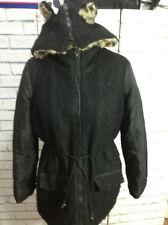 Black Size 10 Petite Asos Teddy Bear Faux Fur Coat Animal Print Bear Ear Hood