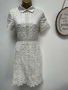 PIXIE DAISY White Embroidered Lace Dress - Size 10