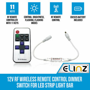 Elinz 12V RF Wireless Remote Control Dimmer Switch for LED Strip Light Bar