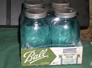 4-Ball Aqua Vintage Quart Mason Jars, Reg Mouth Collector's Edition 32 Oz NIP