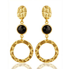 Black Onyx Gemstone Alligator Texture 925 Silver 18k Gold Plated Earrings