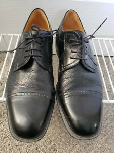 Johnston Murphy CELLINI Deerskin US 10.5 M Black Brogue Cap Toe Dress Oxford